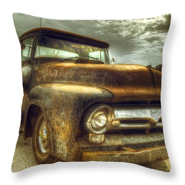 Rusty Truck Throw Pillow by Mal Bray