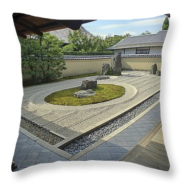 Ryogen-in Zen Rock Garden - Kyoto Japan Throw Pillow by Daniel Hagerman