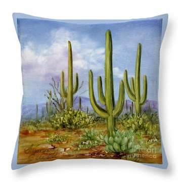 Saguaro Scene 1 Throw Pillow by Summer Celeste