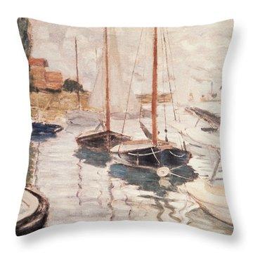 Sailboats On The Seine Throw Pillow by Claude Monet