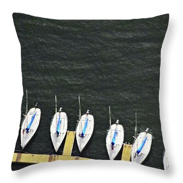 Sailboats Throw Pillow by Sandy Taylor