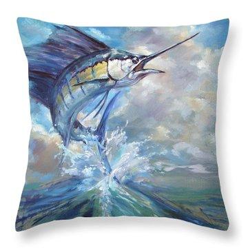 Sailfish And Frigate Throw Pillow by Tom Dauria