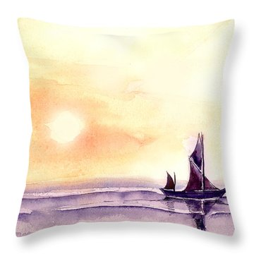 Sailing Throw Pillow by Anil Nene
