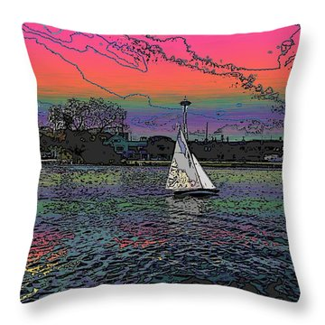 Sailing South Lake Union Throw Pillow by Tim Allen