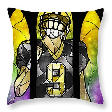 Saint Brees Throw Pillow by Mandie Manzano