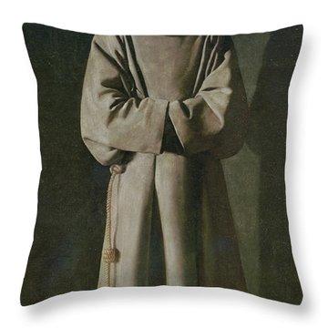 Saint Francis Throw Pillow by Francisco de Zurbaran