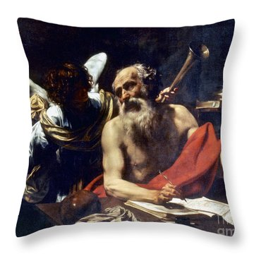 Saint Jerome & The Angel Throw Pillow by Granger