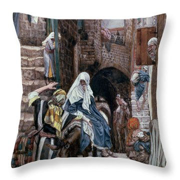 Saint Joseph Seeks Lodging In Bethlehem Throw Pillow by Tissot