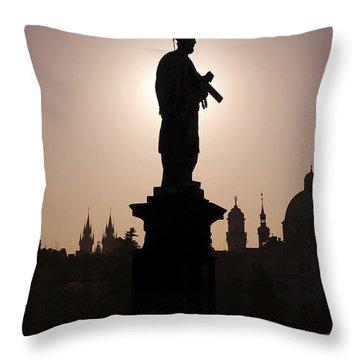 Saint Throw Pillow by Michal Boubin