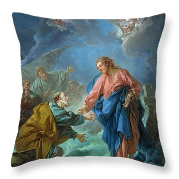 Saint Peter Invited To Walk On The Water Throw Pillow by Francois Boucher