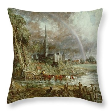 Salisbury Cathedral From The Meadows Throw Pillow by John Constable
