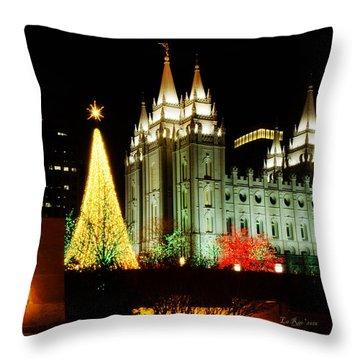 Salt Lake Temple Christmas Tree Throw Pillow by La Rae  Roberts