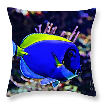 Saltwater Fish Blue Tang Throw Pillow by Marvin Blaine