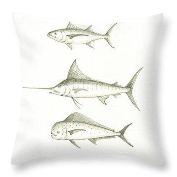 Saltwater Gamefishes Throw Pillow by Juan Bosco