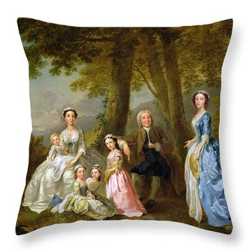 Samuel Richardson Seated With His Family Throw Pillow by Francis Hayman