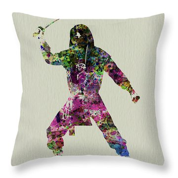 Samurai With A Sword Throw Pillow by Naxart Studio