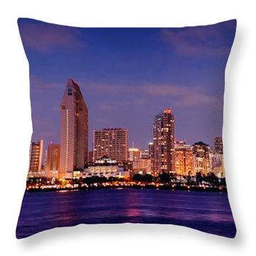 San Diego Skyline At Dusk Throw Pillow by Jon Holiday