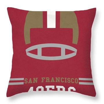 San Francisco 49ers Vintage Art Throw Pillow by Joe Hamilton