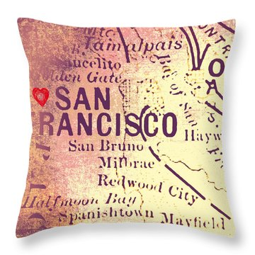 San Francisco Heart Map V4 Throw Pillow by Brandi Fitzgerald