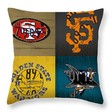 San Francisco Sports Fan Recycled Vintage California License Plate Art 49ers Giants Warriors Sharks Throw Pillow by Design Turnpike