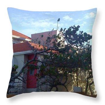San Juan Yellow And Red Throw Pillow by Anna Villarreal Garbis