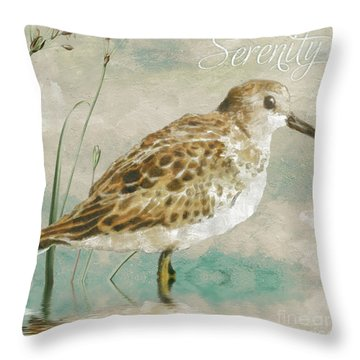 Sandpiper I Throw Pillow by Mindy Sommers
