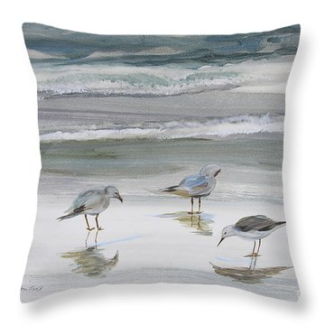Sandpipers Throw Pillow by Julianne Felton