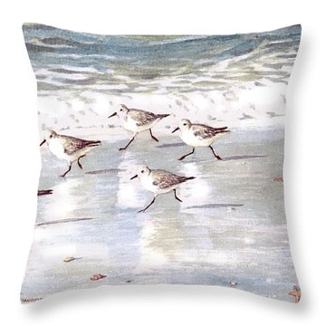 Sandpipers On Siesta Key Throw Pillow by Shawn McLoughlin