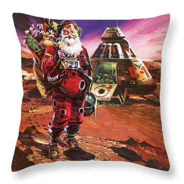 Santa Claus On Mars Throw Pillow by English School
