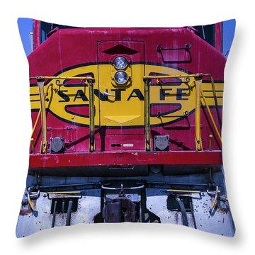 Santa Fe Train Head On Throw Pillow by Garry Gay
