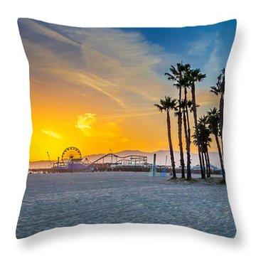 Santa Monica Sunset Throw Pillow by Az Jackson