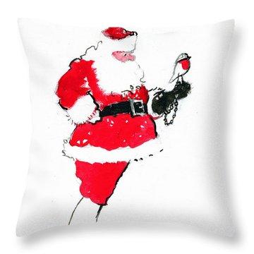 Santa Robin Falconry Throw Pillow by George Adamson