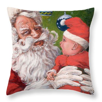 Santas Little Helper Throw Pillow by Richard De Wolfe