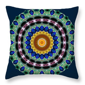 Sapphire Necklace Mandala Throw Pillow by Joy McKenzie