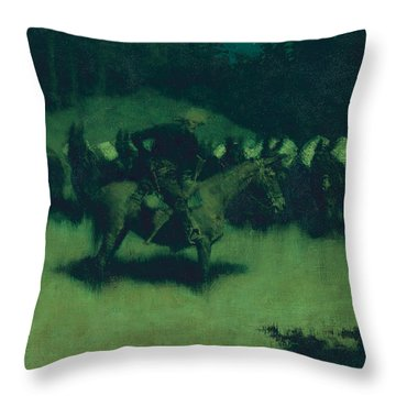 Scare In A Pack Train Throw Pillow by Frederic Remington