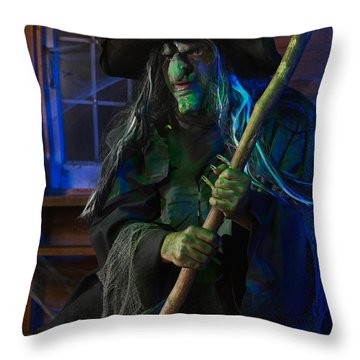 Scary Old Witch Throw Pillow by Oleksiy Maksymenko