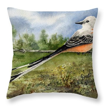 Scissor-tail Flycatcher Throw Pillow by Sam Sidders
