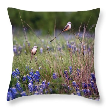 Scissor-tailed Flycatchers Throw Pillow by Cathy Alba