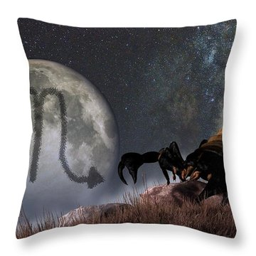 Scorpio Zodiac Symbol Throw Pillow by Daniel Eskridge