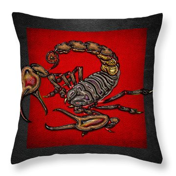 Scorpion On Red And Black  Throw Pillow by Serge Averbukh