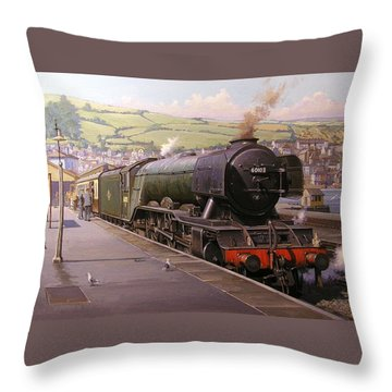 Scotsman At Kingswear Throw Pillow by Mike  Jeffries