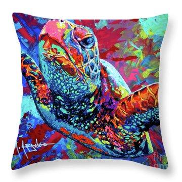 Sea Turtle Throw Pillow by Maria Arango