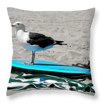 Seagull On A Surfboard Throw Pillow by Christine Till