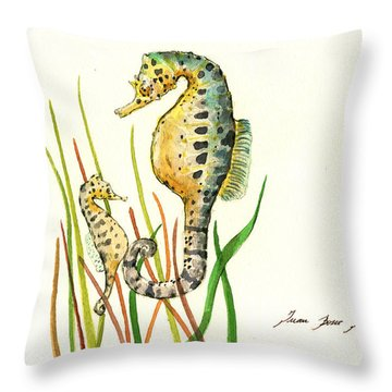 Seahorse Mom And Baby Throw Pillow by Juan Bosco