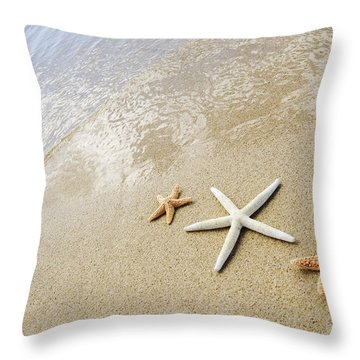 Seastars On Beach Throw Pillow by Mary Van de Ven - Printscapes