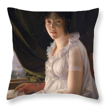 Seated Portrait Of Marie Philippe Claude Walbonne Throw Pillow by Francois Pascal Simon Gerard