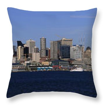 Seattle Panoramic Throw Pillow by Adam Romanowicz