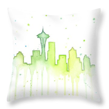 Seattle Skyline Watercolor  Throw Pillow by Olga Shvartsur