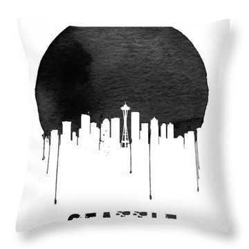 Seattle Skyline White Throw Pillow by Naxart Studio