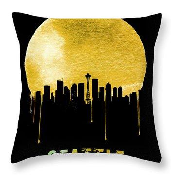 Seattle Skyline Yellow Throw Pillow by Naxart Studio